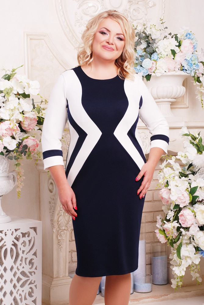 Женское приталенное платье Секрет рукав 3/4 размер 52-62 / большие размеры, цвет синий + молоко