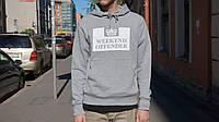 Худи Weekend Offender серое с белым логотипом, унисекс (мужское,женское,детское)