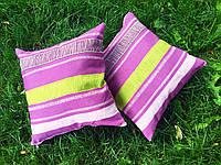 Подушка декоративная 40х40см. Фиолетовая полоска.