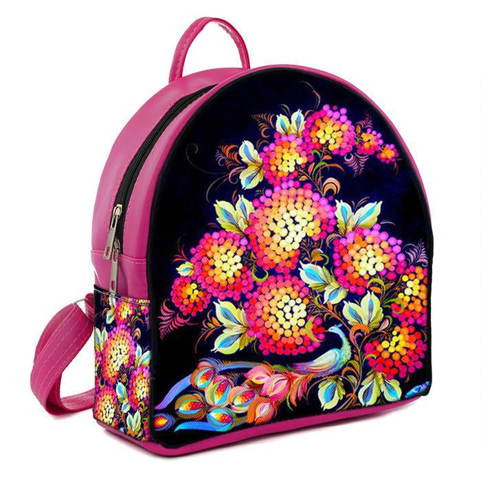 Розовый городской рюкзак с принтом Цветы украинские  цена, продажа ... efa1f5ca291
