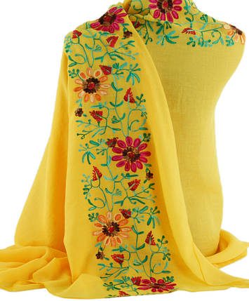 Шикарная женская шаль, Trаum 2494-74, вискоза, 170х90 см, цвет желтый., фото 2