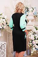 Женское приталенное платье Секрет рукав 3/4 размер 52-62 / большие размеры, цвет черный + мята, фото 2