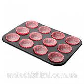 Форма для выпечки кексов с бумажными формами 12шт/л 35.5*26.8*3см