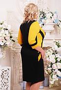 Женское приталенное платье Секрет рукав 3/4 размер 52-62 / большие размеры, цвет черный + горчица, фото 2