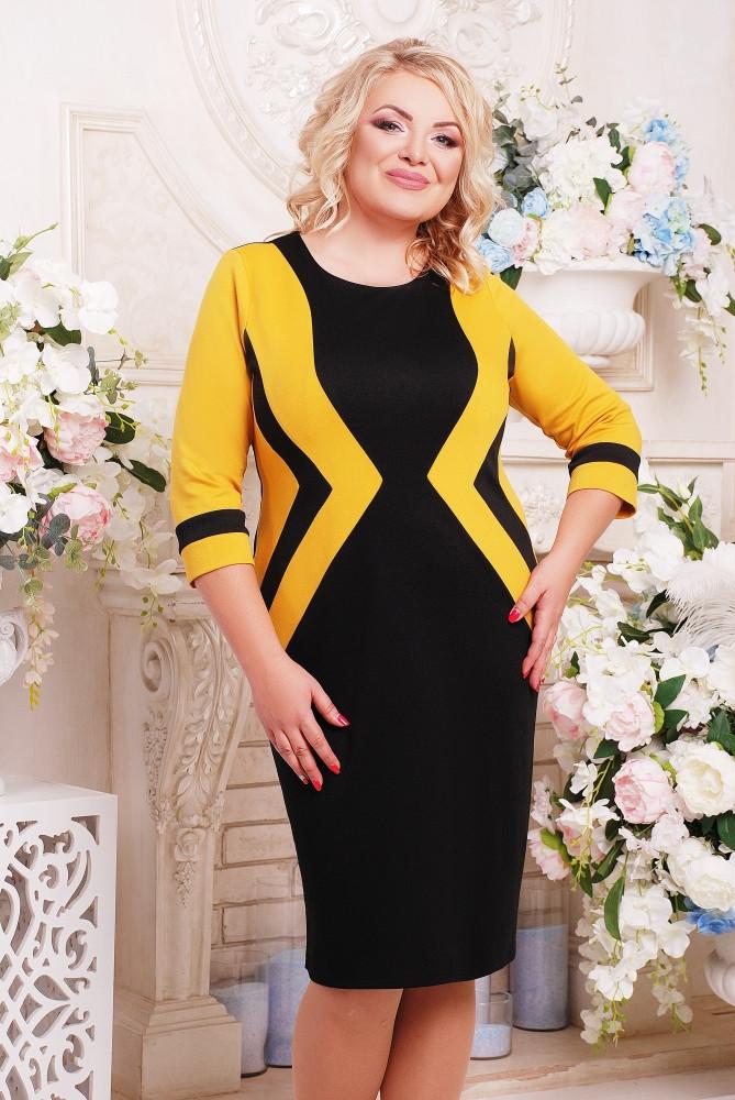 Женское приталенное платье Секрет рукав 3/4 размер 52-62 / большие размеры, цвет черный + горчица