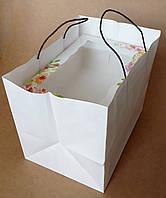 Крафт пакет с ручками 22х27х19, Белый, Черные ручки
