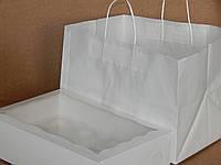 Крафт пакет с ручками 24.5х36х26, Белый, Белые ручки