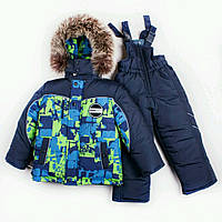 Зимний комбинезон костюм комплект для мальчика Зелень