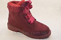 Зимние ботинки атласная шнуровка, фото 1