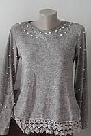 Блуза бусинки с кружевом, фото 1