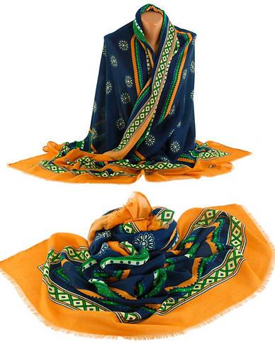 Шикарная женская шаль, Trаum 2494-76, хлопок, 170х90 см, цвет синий.