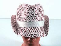 Соломенная шляпа Бевьер 28 см красно-белая