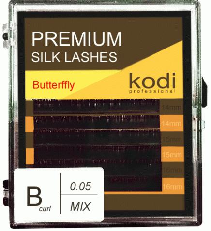 Ресницы для наращивания Kodi Professional Butterfly, В-0.05 (6 рядов:8, 9, 10 мм.) черные