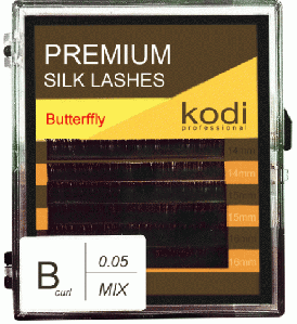 Ресницы для наращивания Kodi Professional Butterfly, В-0,05 (6 рядов:14, 15, 16 мм.) черные