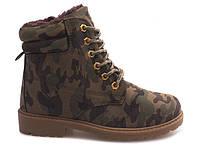 Зимние и удобные ботинки цвета хаки для девушек