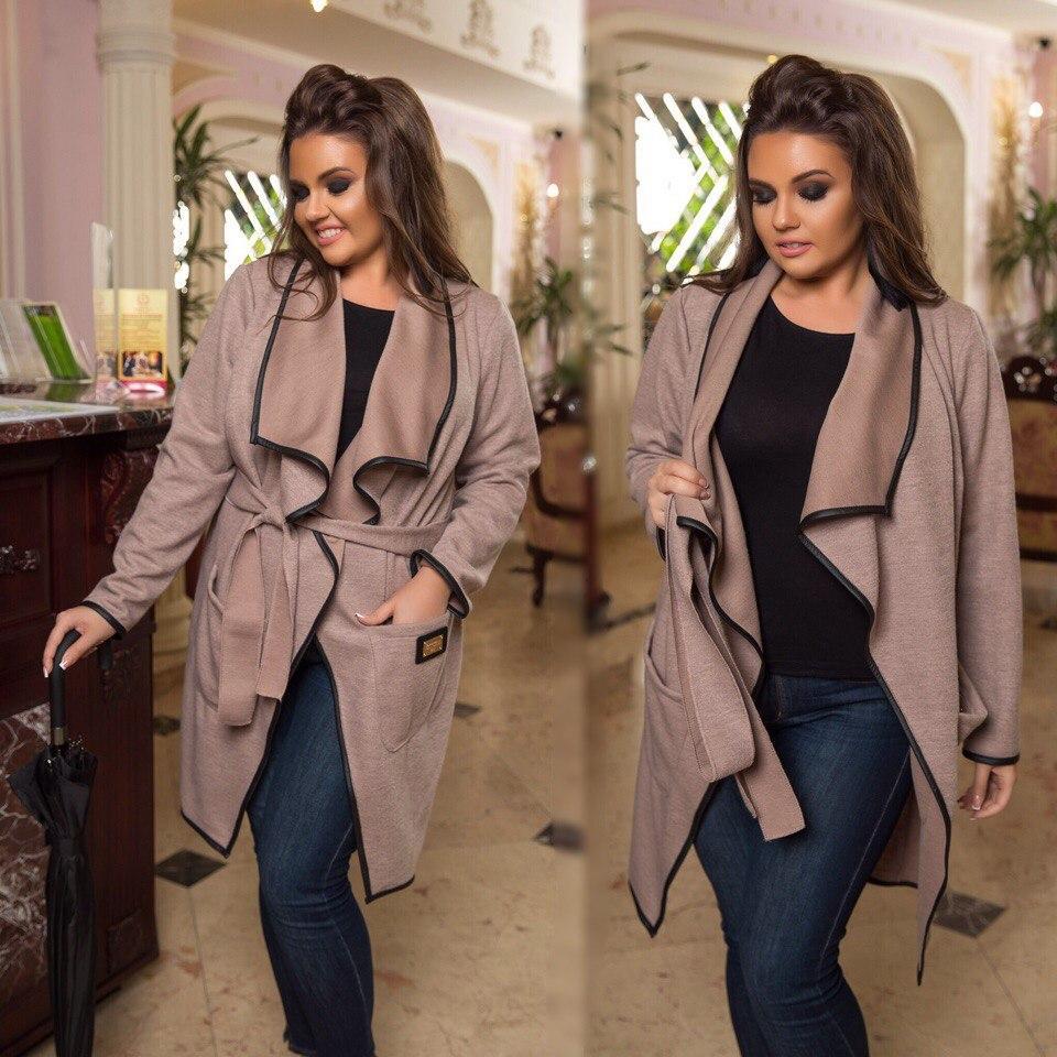 Пальто-кардиган с отделкой эко-кожи  продажа c4411b15f2c04