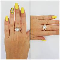 """Позолоченное серебряное кольцо с камнями """"577"""""""