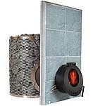 Дровяная печь для бани и сауны IKI SL со стеклянной дверкой и прямым дымоходом