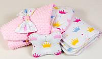 Конверт на выписку зимний + подушка BabySoon Принцесса одеяло 80 х 85см подушка 22х26 см розовый (065)