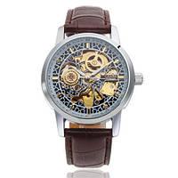 Мужские механические часы Слава Созвездие с коричневым ремешком