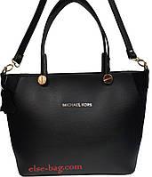 Женская сумка из эко кожи на круглой фурнитуре черная с натуральным замшем, фото 1