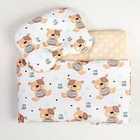 Комплекты в детскую коляску на лето BabySoon Мишки одеяло 65 х 75 см подушка 22 х 26 см бежевый (085), фото 1