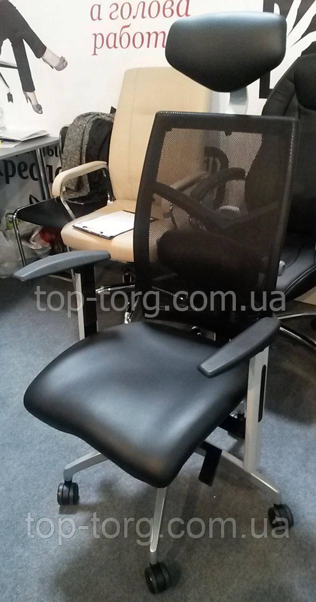 E0604 Кресло офисное еxact black lеathеr, black mеsh Фото