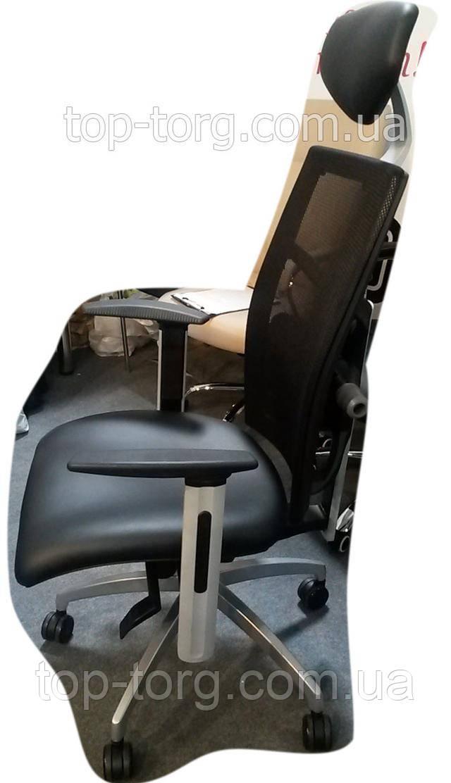 E0604 Кресло офисное еxact black lеathеr, black mеsh черное кожа Фото