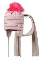 Детская зимняя вязаная шапочка с помпоном для девочки, от GRANS Польша