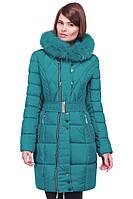 Зимнее удлиненное пальто с поясом и песцовой опушкой Пейтон