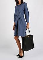 Платье из 100% льна синего цвета