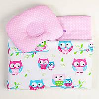 Комплект в коляску летний BabySoon Совушки на нежно розовом одеяло 65 х 75 см подушка 22 х 26 см (094)