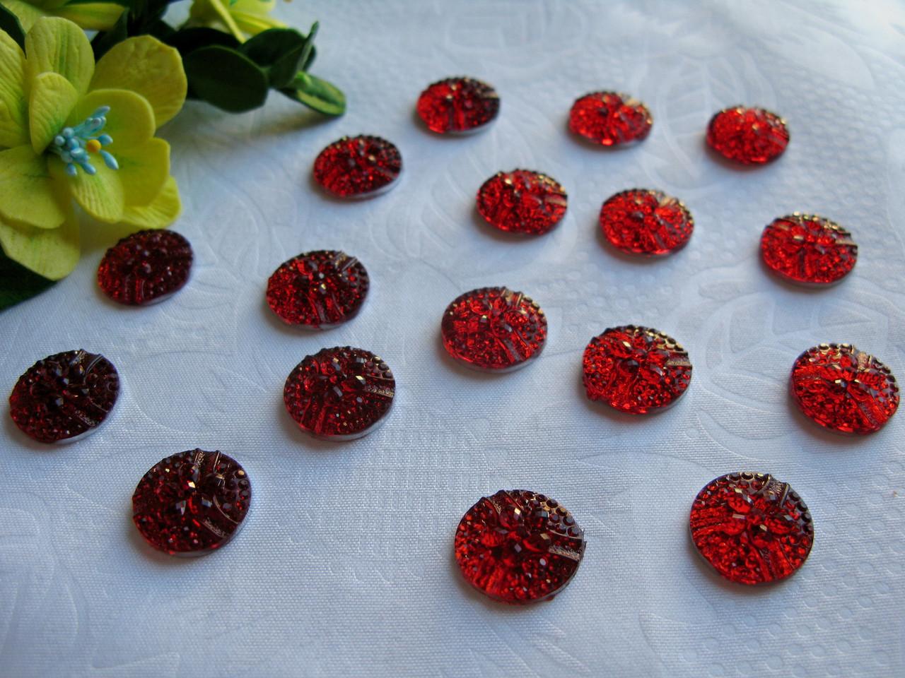 Полубусины - Цветочек цвет красный -  р-р 16 мм цена 1 грн - 1 шт
