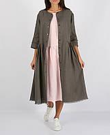 Сіра сукня з 100% льону на кнопки
