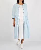 Голубое платье из 100% льна на кнопки, фото 1