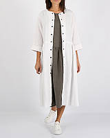 Белое платье из 100% льна на кнопки