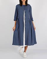 Синее  платье из 100% льна на кнопки, фото 1