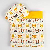Комплект в коляску летний BabySoon Лесные жители одеяло 65 х 75 см подушка 22 х 26 см оранжевый (100), фото 1