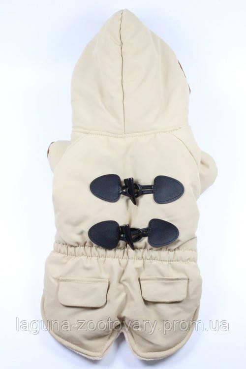 Куртка - пальто БРИСТОЛЬ для собак, размеры XS, S, M, L, XL бежевый