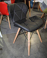 Стул DS-926 на деревянных ножках цвет бук натуральный, сиденье из черного кожзама