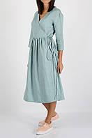 Бирюзовое льняное платье на запах, фото 1