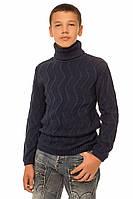"""Теплый вязанный свитер """"Стюарт"""" для мальчика, цвет темно-синий"""