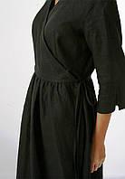 Чёрное льняное платье на запах, фото 1
