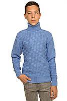 """Теплый вязанный свитер """"Феликс"""" для мальчика, цвет голубой"""