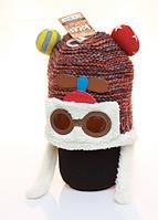 Зимняя вязаная шапка для мальчика 4-12 лет