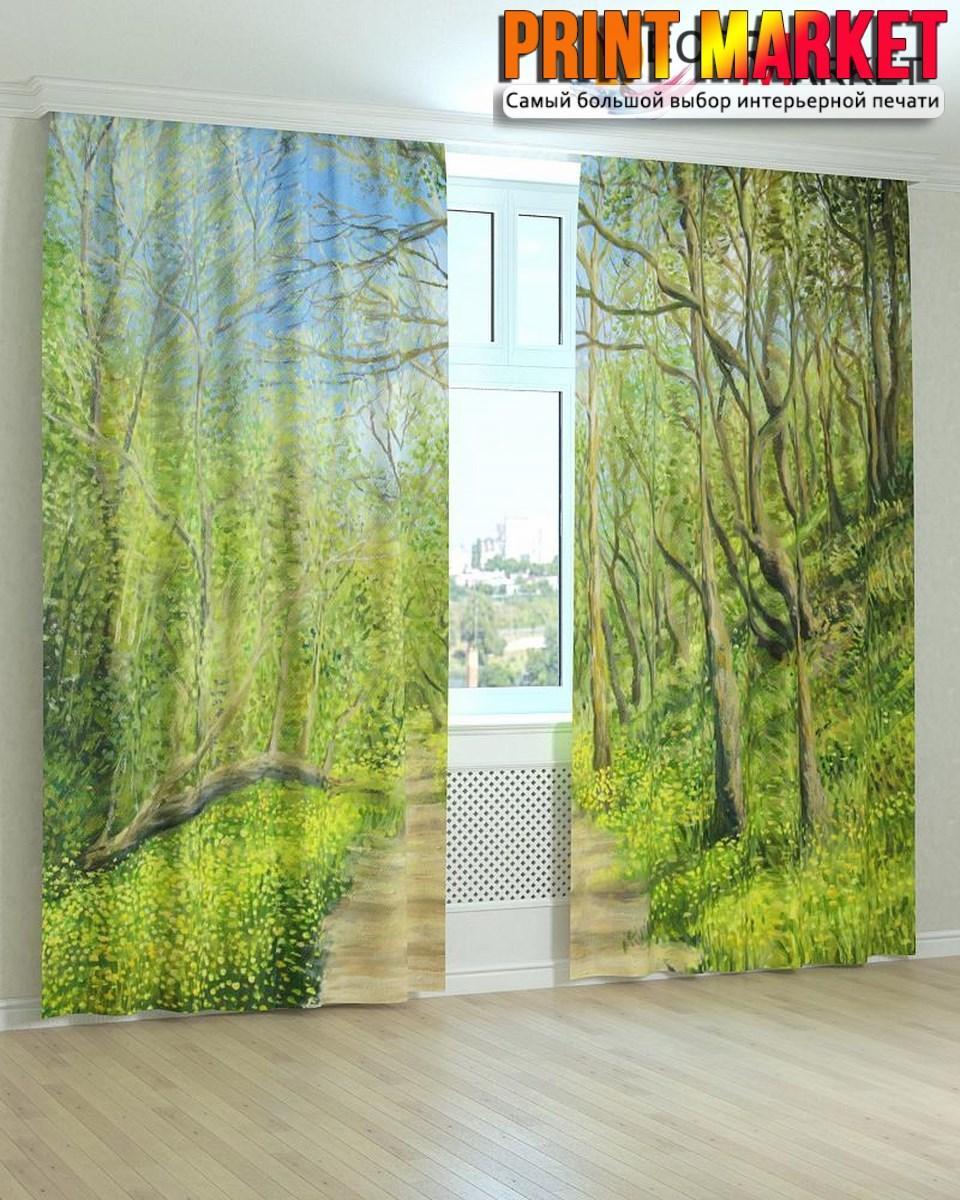 Фотошторы зеленые деревья