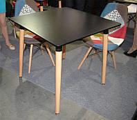 Стол обеденный Nolan II DT-9017 квадратный черный, деревянные ножки, копия Mario Cellini Halo DiningTable