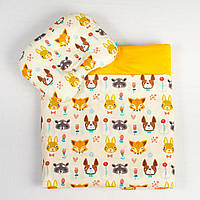Комплект в коляску детский BabySoon Лесные жители одеяло 65 х 75 см подушка 22 х 26 см оранжевый (111), фото 1