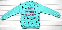 """Водолазка для девочки с надписью """"My sweet heart"""" 116-134см, утепленная"""