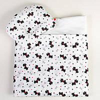 Комплект в детскую коляску BabySoon Веселые собачки одеяло 65 х 75 см подушка 22 х 26 см (113)